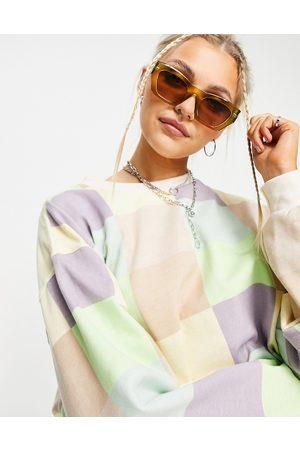 Daisy Street – Legeres Sweatshirt mit pastellfarbenem Patchworkdesign, Kombiteil-Mehrfarbig