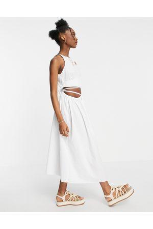 ASOS – Weißes Midi-Sommerkleid aus Baumwoll-Popeline mit Wickelgürtel
