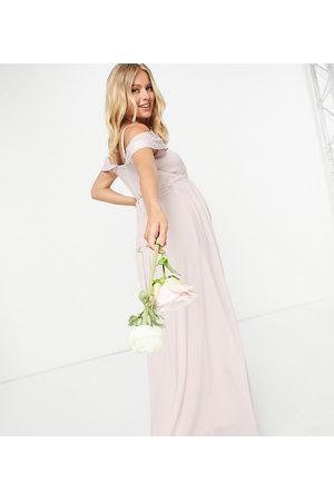 TFNC – Bridesmaid – Asymmetrisches Maxikleid in Nerzbeige mit drapierter Schulter