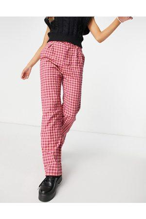 Daisy Street – Weit geschnittene Hose mit hohem Bund und Vintage-Karomuster