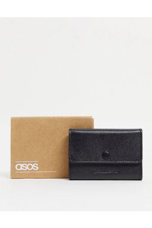 ASOS – Kartenetui-Geldbörse mit mehreren Fächern aus schwarzem Saffianoleder