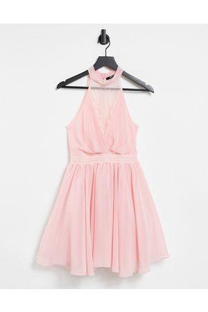 TFNC Damen Kleider - – Bridesmaid – Mini-Skater-Kleid in Zartrosa mit Spitzeneinsatz