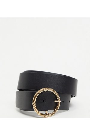ASOS Damen Gürtel - ASOS DESIGN Curve – Hüft- und Taillen-Jeansgürtel in mit goldfarbener Schnalle im verdrehten Design