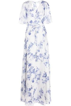Marchesa Notte Bridesmaids Gewickeltes Maxikleid mit Blumen-Print