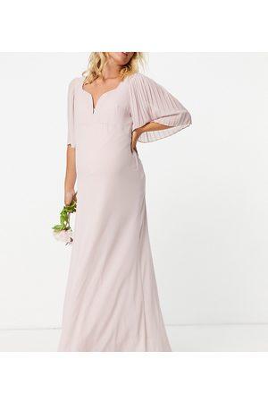 TFNC Damen Lange Kleider - – Brautjungfern-Maxikleid mit Herzausschnitt und Flatterärmeln in Salbeigrün