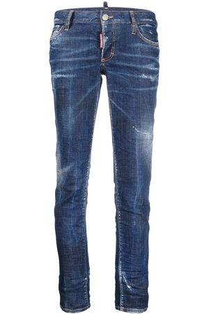 Dsquared2 Damen Skinny - Cropped-Jeans in Distressed-Optik