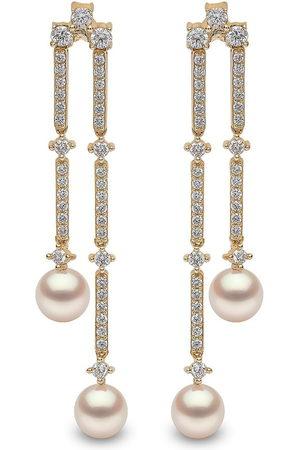 Yoko London 18kt Sleek Gelbgold-Hängeohrringe mit Akoya-Perlen und Diamanten