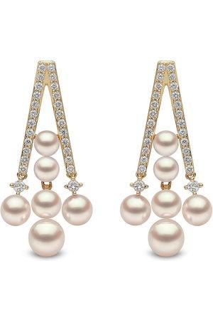 Yoko London Damen Ohrringe - 18kt Sleek Gelbgoldohrringe mit Akoya-Perlen und Diamanten