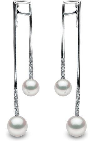 Yoko London Damen Ohrringe - 18kt Sleek Weißgold-Hängeohrringe mit Akoya-Perlen und Diamanten