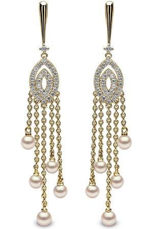 Yoko London Damen Ohrringe - 18kt yellow Sleek Akoya pearl and diamond earrings