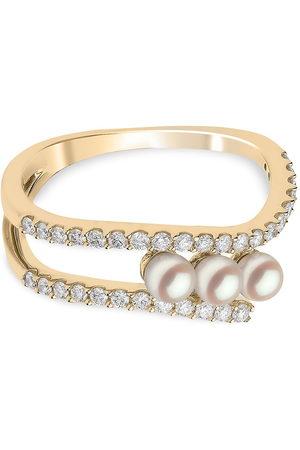Yoko London 18kt Sleek Gelbgoldring mit Akoya-Perlen und Diamanten