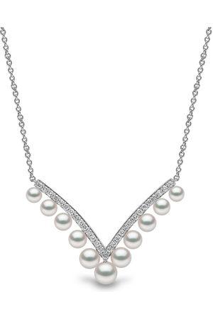 Yoko London Damen Halsketten - 18kt Sleek Weißgoldhalskette mit Akoya-Perlen und Diamanten