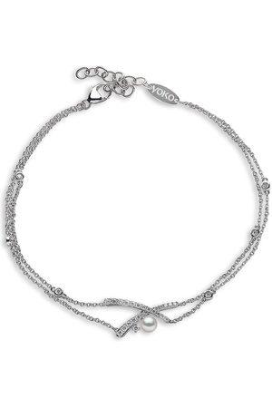 Yoko London 18kt Sleek Weißgoldarmband mit Diamanten und Akoya-Perlen
