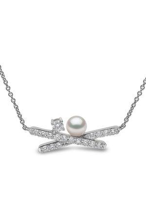 Yoko London Damen Halsketten - 18kt Sleek Weißgoldhalskette mit Akoya-Perle und Diamanten