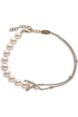 Yoko London Damen Armbänder - 18kt Sleek Gelbgoldarmband mit Diamanten und Akoya-Perlen
