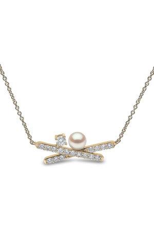 Yoko London 18kt Sleek Gelbgoldhalskette mit Akoya-Perle und Diamanten