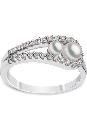 Yoko London 18kt Sleek Weißgoldring mit Akoya-Perlen und Diamanten