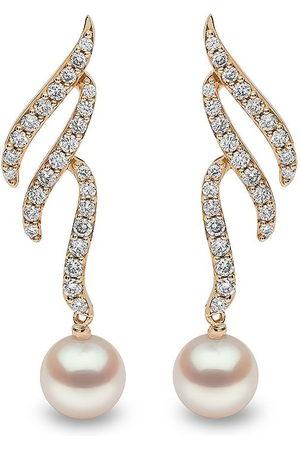 Yoko London 18kt Sleek Gelbgoldohrringe mit Akoya-Perle und Diamanten