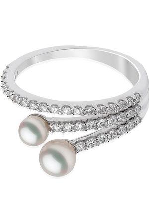 Yoko London 18kt Sleek Weißgoldring mit Diamanten und Akoya-Perlen