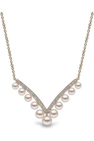 Yoko London 18kt Sleek Gelbgoldhalskette mit Akoya-Perlen und Diamanten