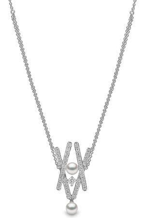 Yoko London 18kt Sleek Weißgoldhalskette mit Diamanten und Akoya-Perlen