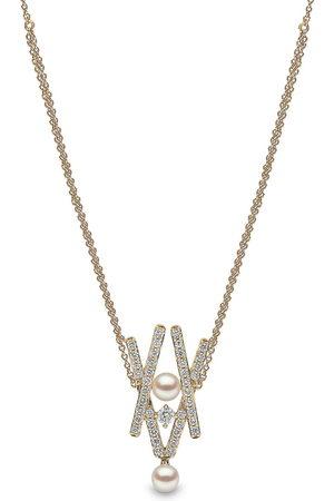 Yoko London 18kt Sleek Gelbgoldhalskette mit Diamanten und Akoya-Perlen