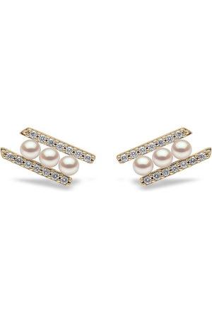Yoko London 18kt Sleek Gelbgoldohrringe Akoya-Perlen und Diamanten
