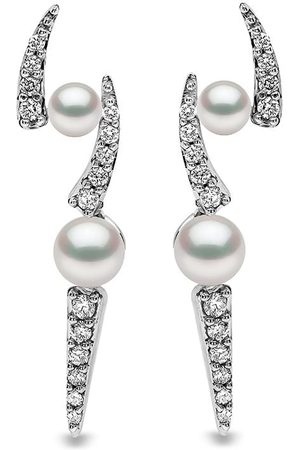 Yoko London 18kt Weißgoldohrstecker mit Akoya-Perlen und Diamanten