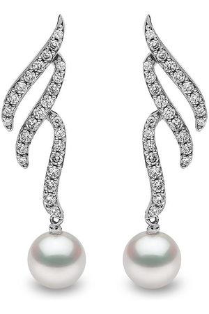 Yoko London 18kt Sleek Weißgoldohrringe mit Akoya-Perle und Diamanten