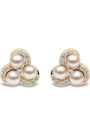 Yoko London 18kt Sleek Gelbgoldohrstecker mit Diamanten und Akoya-Perlen