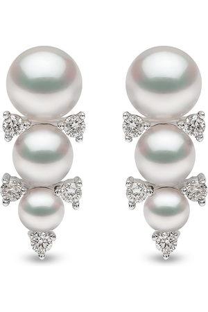 Yoko London 18kt Sleek Weißgoldohrstecker mit Akoya-Perlen und Diamanten