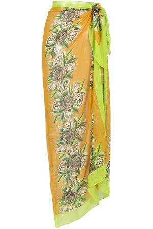 AMIR SLAMA Damen Strandmode - Pareo aus Seide mit Blumen-Print