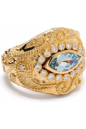 Aurélie Bidermann 18kt Cashmere Gelbgoldring mit Diamanten und Aquamarin