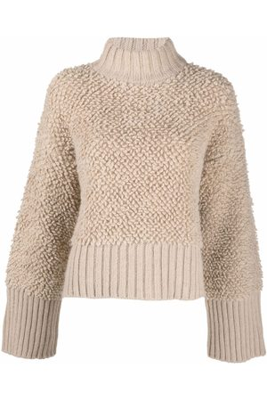 The Attico Strukturierter Pullover mit Stehkragen - Nude