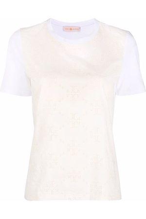 Tory Burch Monogram-print short-sleeved T-shirt - Nude