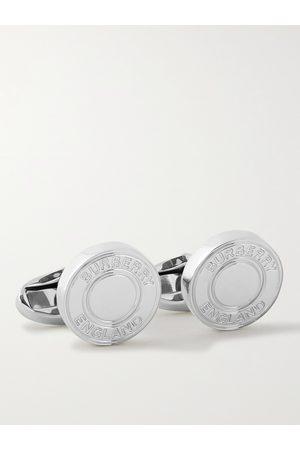 Burberry Herren Manschettenknöpfe - Logo-Engraved Palladium-Plated Cufflinks