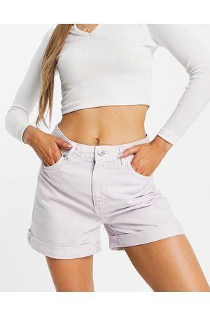 MANGO – Mom-Shorts aus Jeansstoff in verwaschenem Flieder-Lila