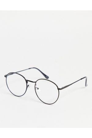 ASOS – Runde Modebrille mit transparenten Gläsern in