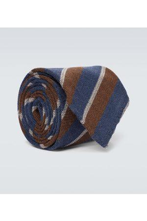 Thom Sweeney Gestreifte Krawatte aus Wolle und Seide