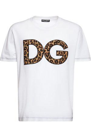 Dolce & Gabbana T-shirt Aus Baumwolle Mit Dg-leopardendruck