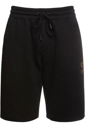 Dolce & Gabbana Shorts Aus Baumwolle Mit Bienen- & Kronenstickerei