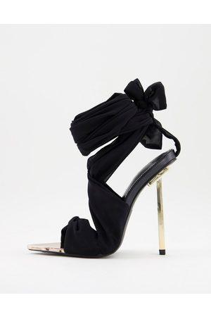 Public Desire Damen Sandalen - – Schnürsandalen aus grünem Chiffon mit goldenem Absatz