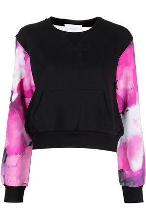 Marchesa Notte Sweatshirt mit semi-transparentem Einsatz