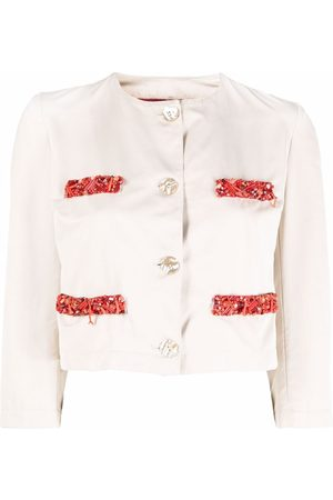A.N.G.E.L.O. Vintage Cult 1990s Cropped-Jacke mit Perlendetail - Nude