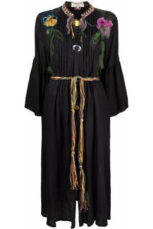 A.N.G.E.L.O. Vintage Cult 1990s embroidered flowers gathered midi dress