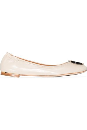 Tory Burch Minnie leather ballerina shoes - Nude