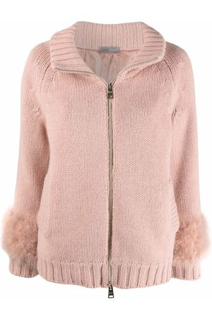 HERNO Feather-embellished zipped cardigan