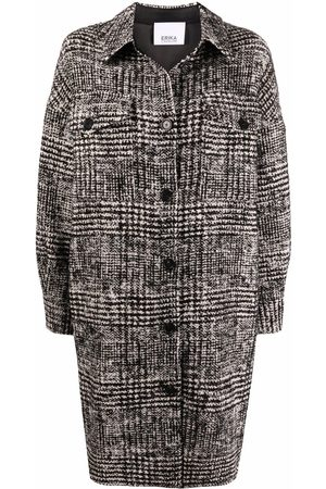 ERIKA CAVALLINI Button-front tweed knit mid-length coat