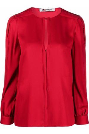 PORTS 1961 Slit-detail silk blouse