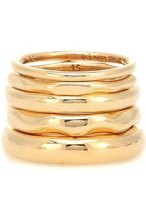Bottega Veneta Set aus fünf vergoldeten Ringen